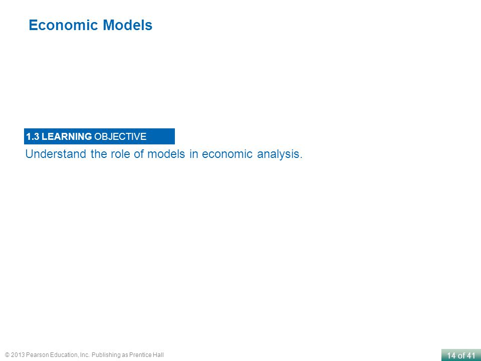 Economic Models Understand the role of models in economic analysis.