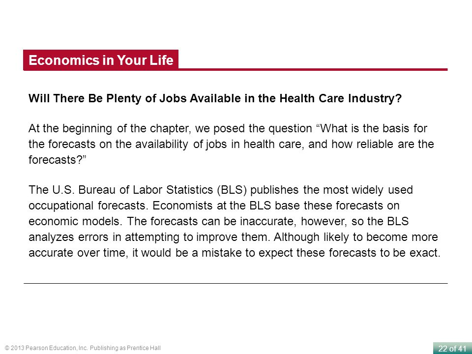 Economics in Your Life Will There Be Plenty of Jobs Available in the Health Care Industry