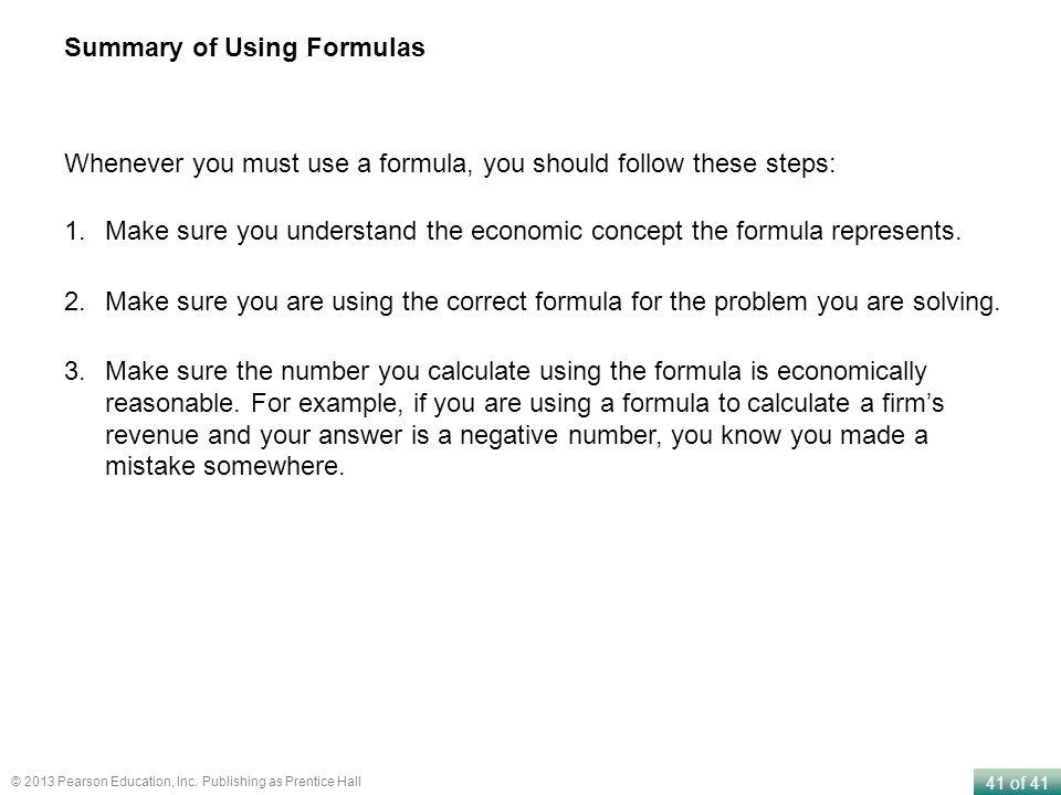 Summary of Using Formulas
