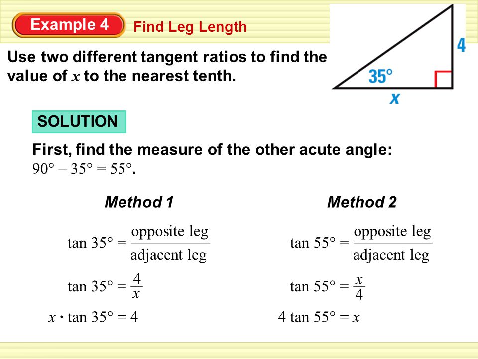 First, find the measure of the other acute angle: 90° – 35° = 55°.