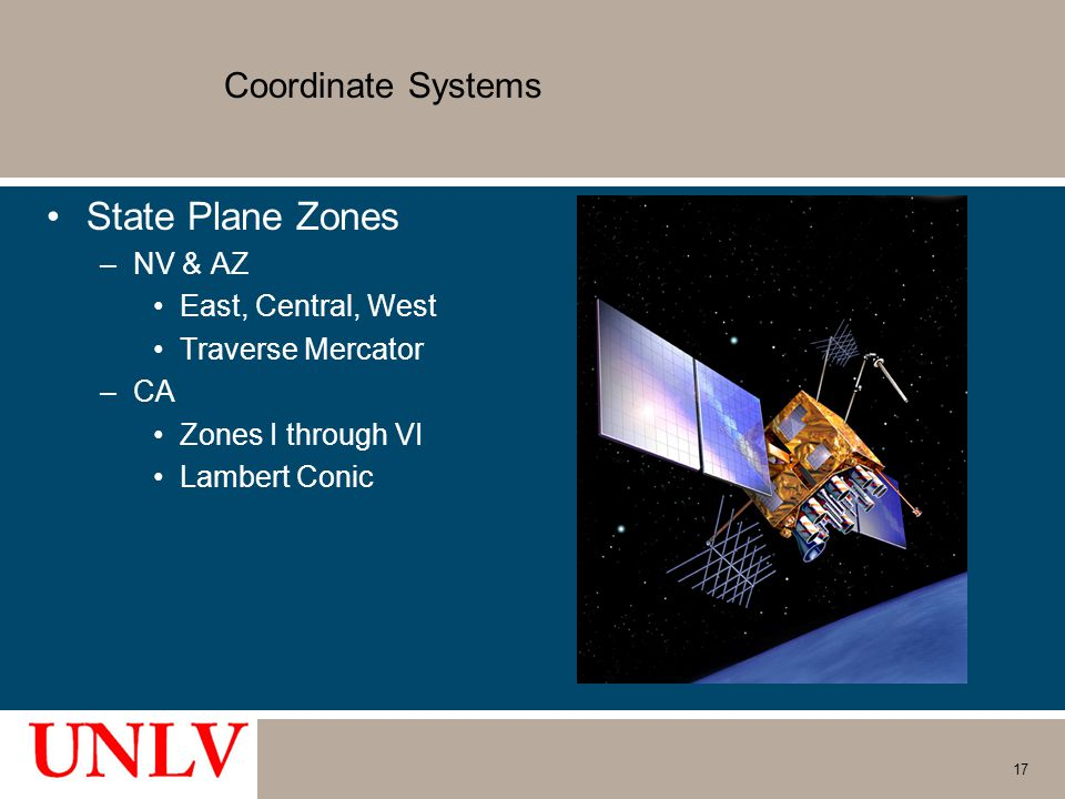 State Plane Zones Coordinate Systems NV & AZ East, Central, West