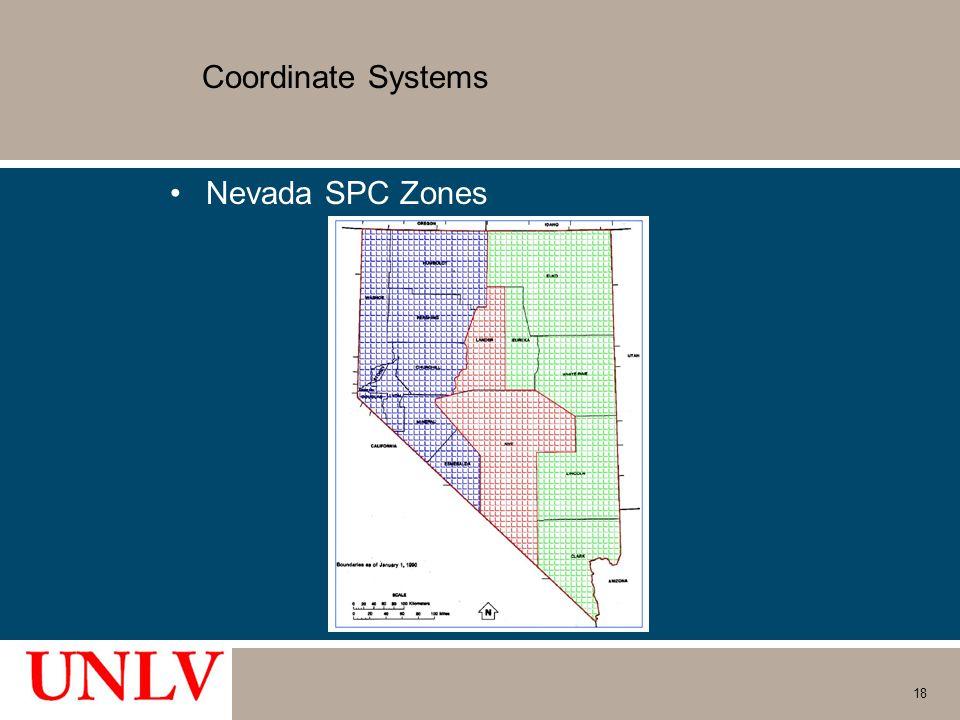 Coordinate Systems Nevada SPC Zones