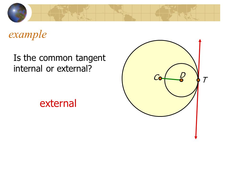 example Is the common tangent internal or external D C T external