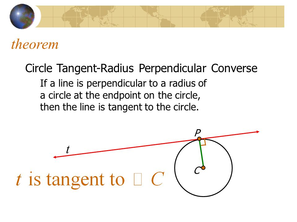 theorem t Circle Tangent-Radius Perpendicular Converse