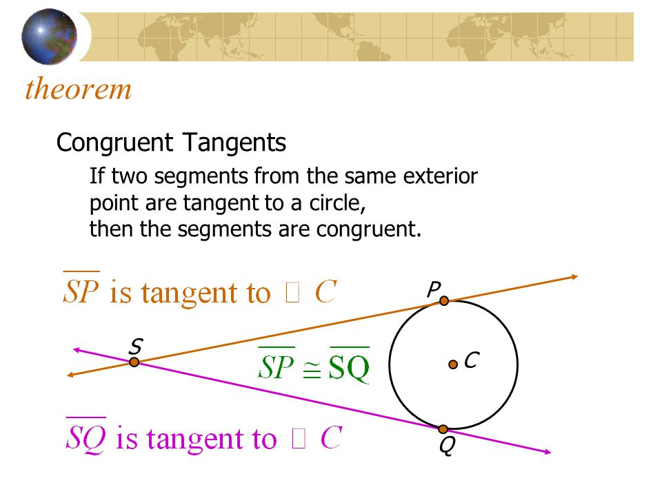 theorem Congruent Tangents If two segments from the same exterior