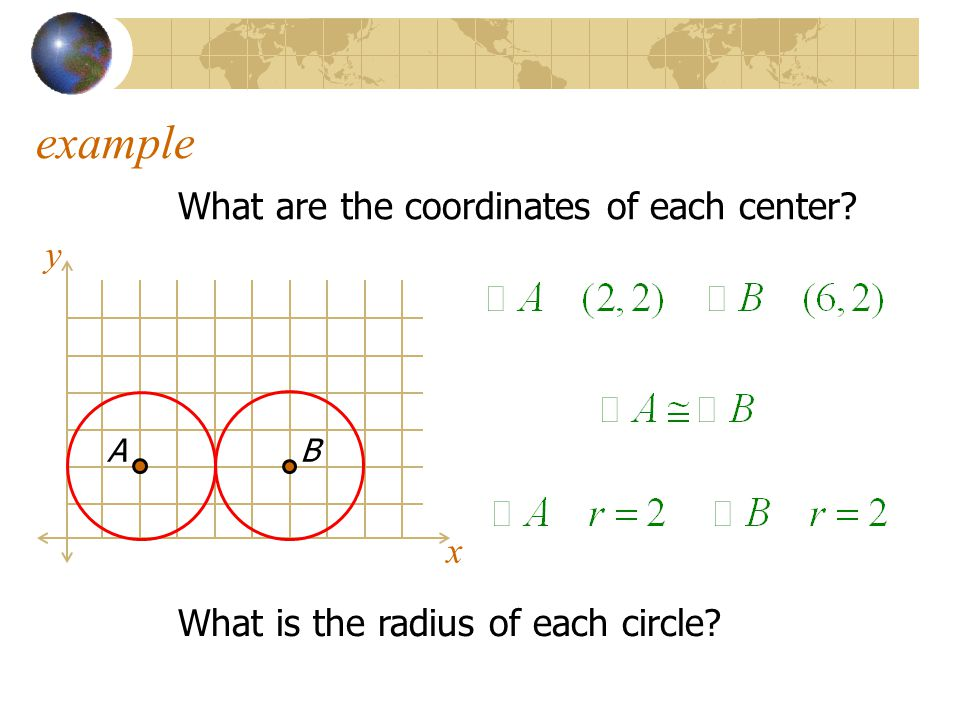 example What are the coordinates of each center y x