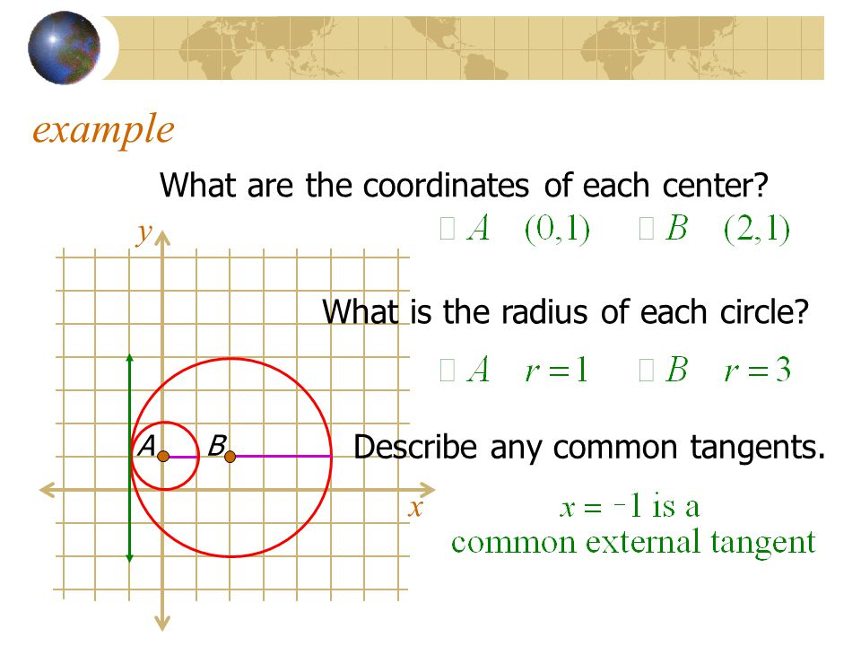 example What are the coordinates of each center y