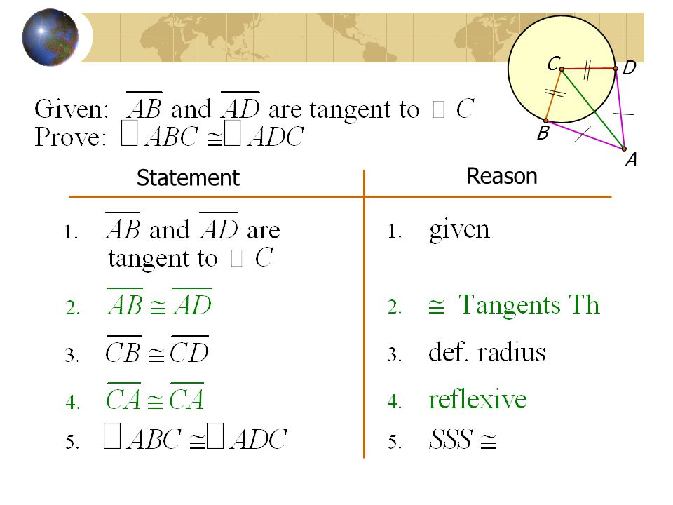 C A B D Statement Reason