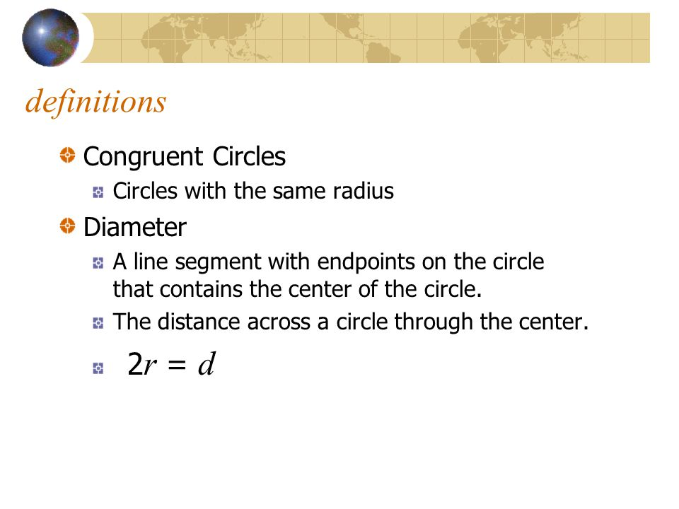 definitions Congruent Circles Diameter Circles with the same radius