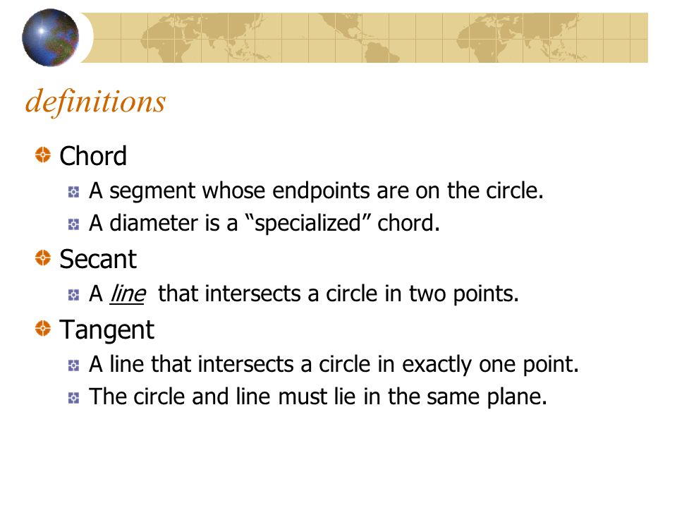 definitions Chord Secant Tangent