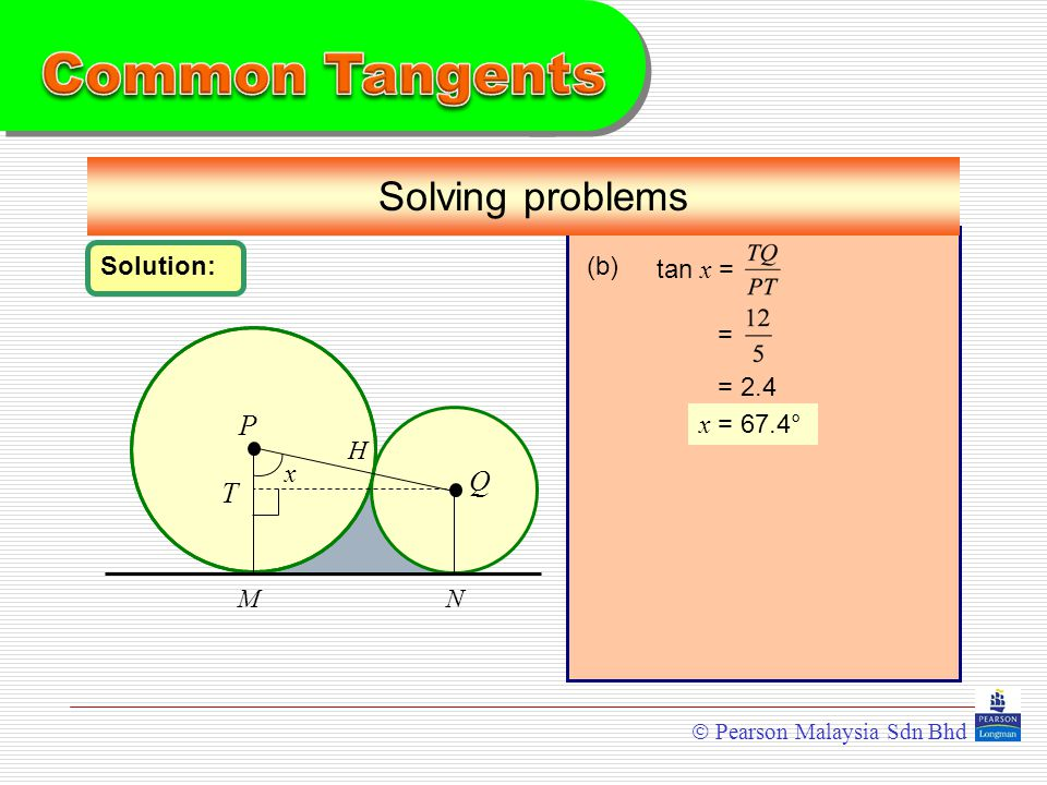 Common Tangents Solving problems P Q T Solution: (b) tan x = = = 2.4