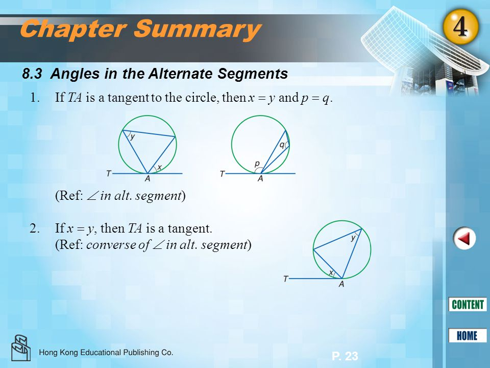 Chapter Summary 8.3 Angles in the Alternate Segments