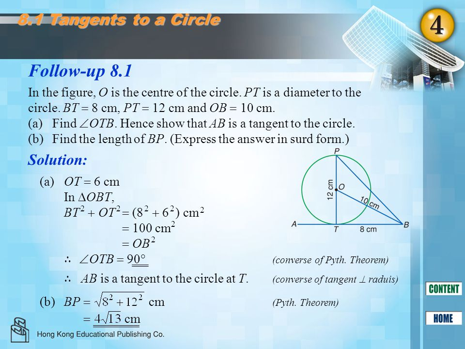 Follow-up 8.1 8.1 Tangents to a Circle Solution: