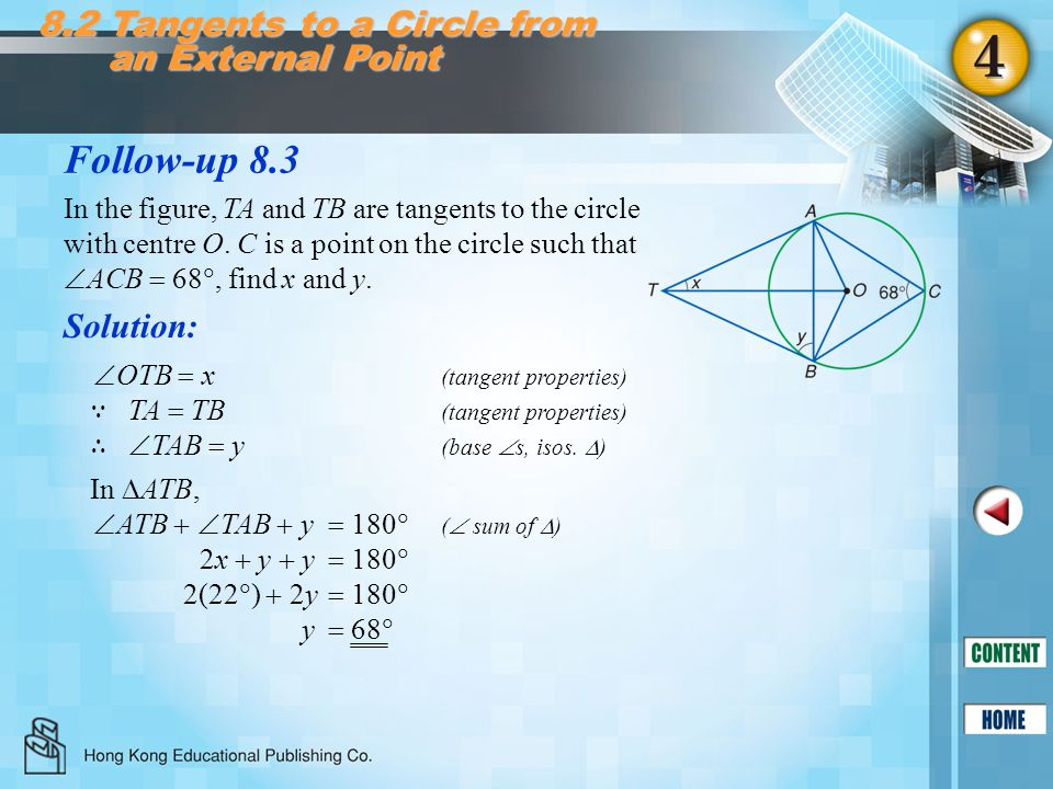 Follow-up 8.3 8.2 Tangents to a Circle from an External Point