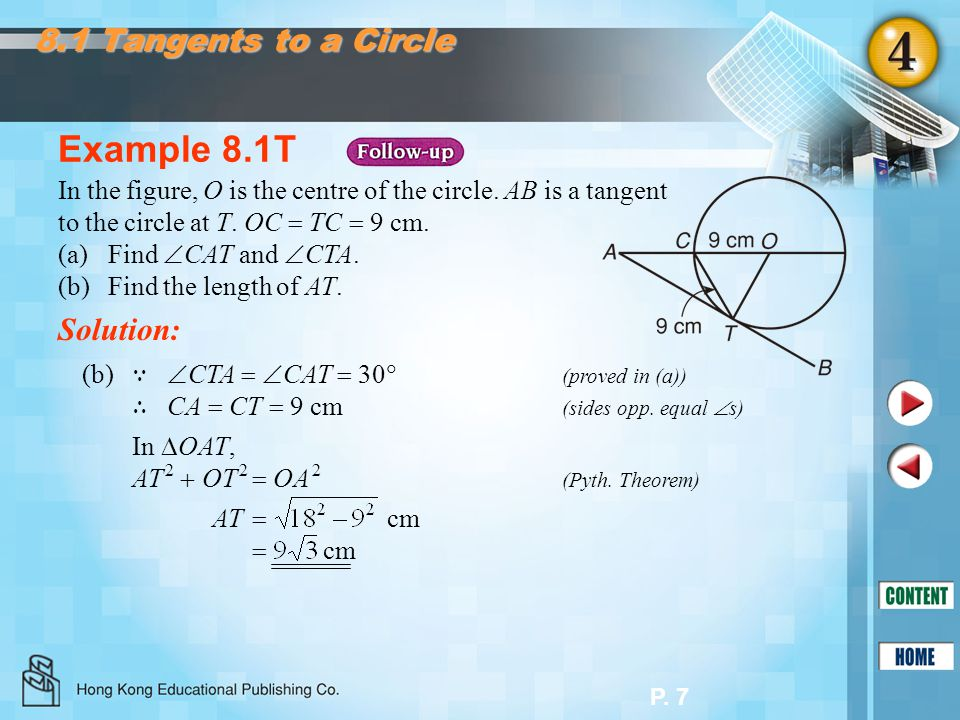 Example 8.1T 8.1 Tangents to a Circle Solution: