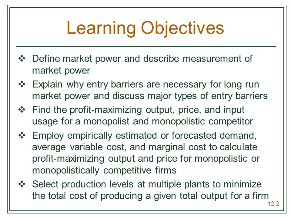 Learning Objectives Define market power and describe measurement of market power.