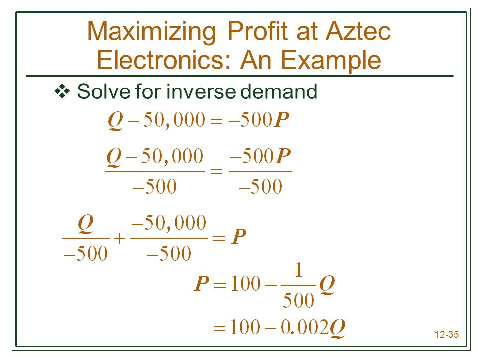 Maximizing Profit at Aztec Electronics: An Example