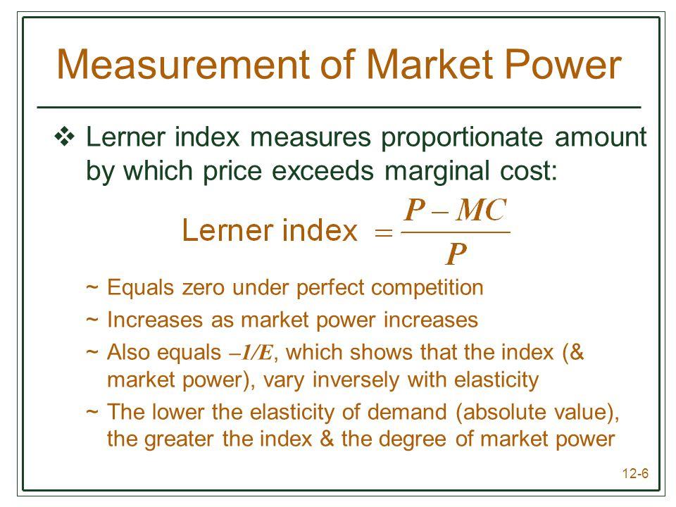 Measurement of Market Power