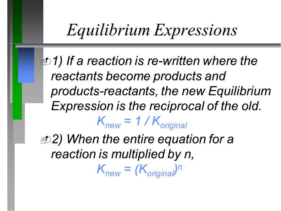 Equilibrium Expressions