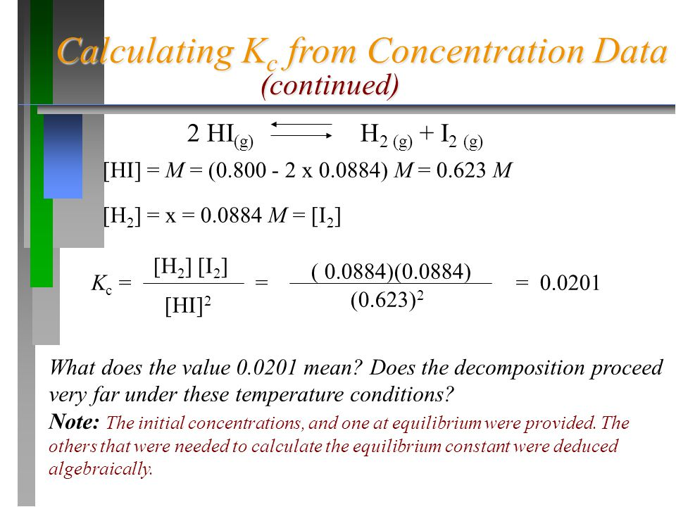 Calculating Kc from Concentration Data