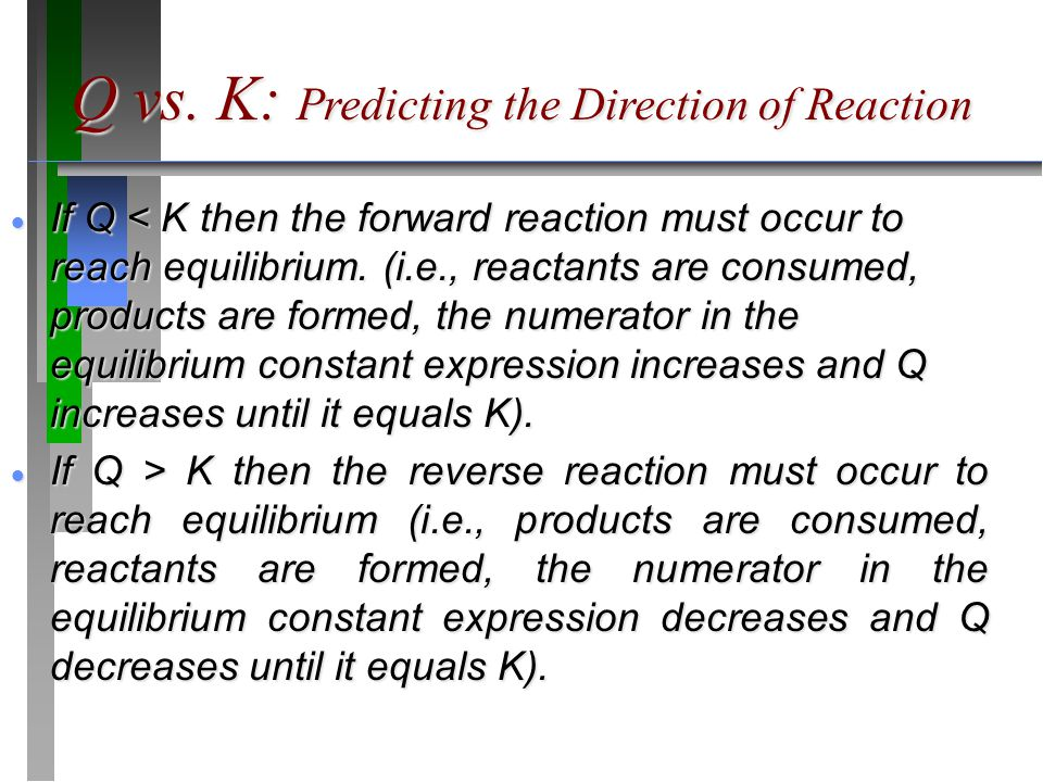 Q vs. K: Predicting the Direction of Reaction