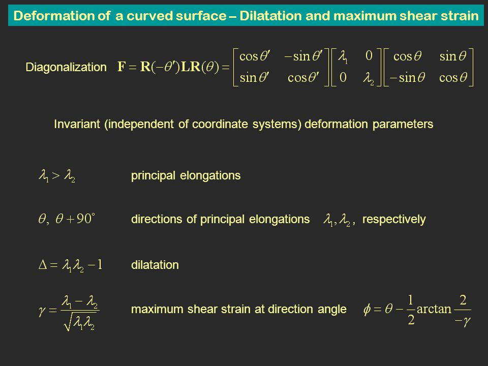 Deformation of a curved surface – Dilatation and maximum shear strain