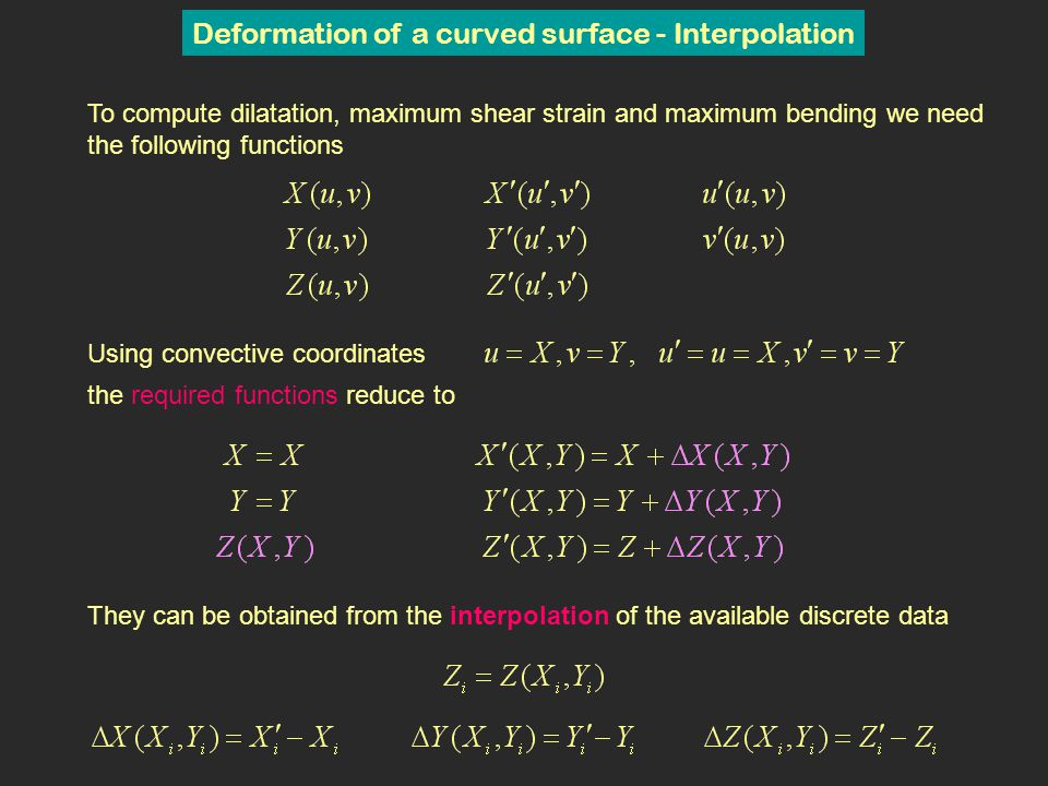 Deformation of a curved surface - Interpolation