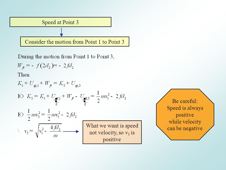 Consider the motion from Point 1 to Point 3