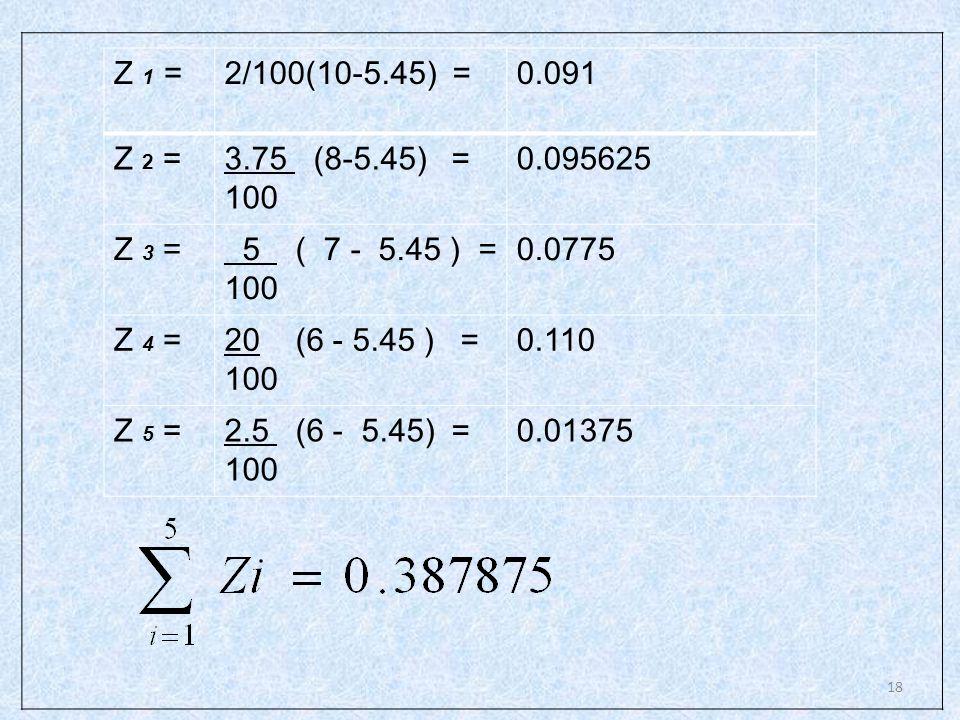 Z 1 = 2/100(10-5.45) = 0.091. Z 2 = 3.75 (8-5.45) = 100. 0.095625. Z 3 = 5 ( 7 - 5.45 ) =