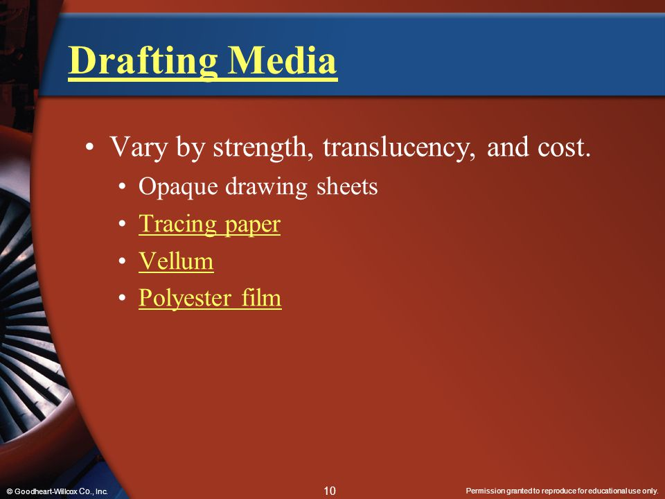 Drafting Media Vary by strength, translucency, and cost.