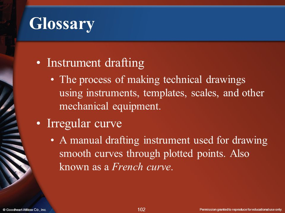 Glossary Instrument drafting Irregular curve