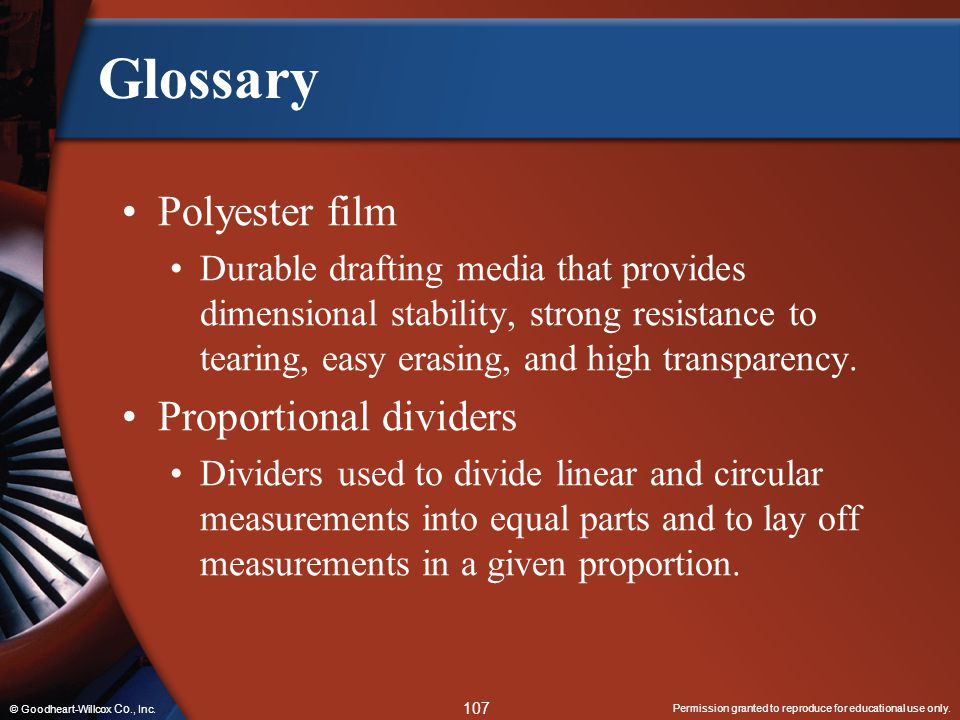 Glossary Polyester film Proportional dividers