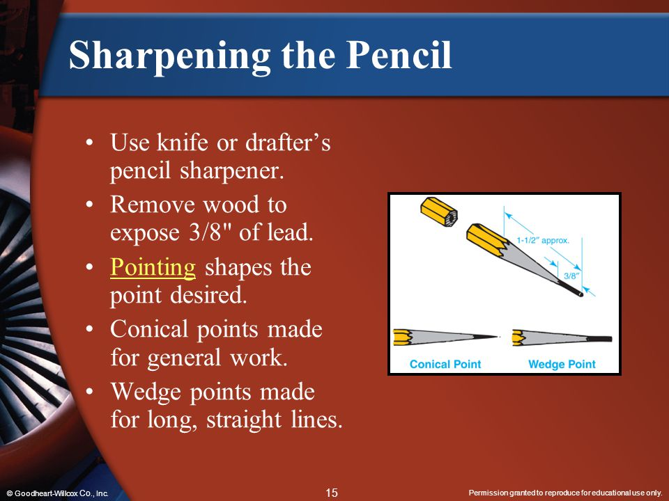 Sharpening the Pencil Use knife or drafter's pencil sharpener.
