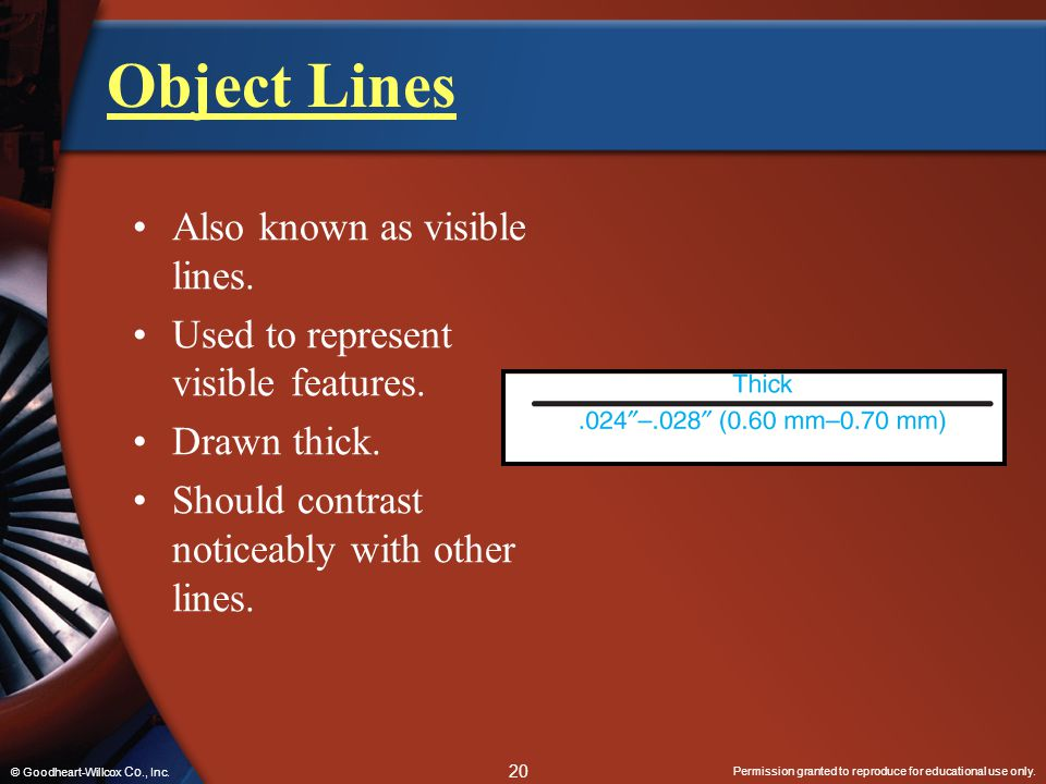 Object Lines Also known as visible lines.
