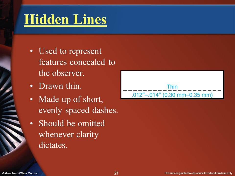 Hidden Lines Used to represent features concealed to the observer.