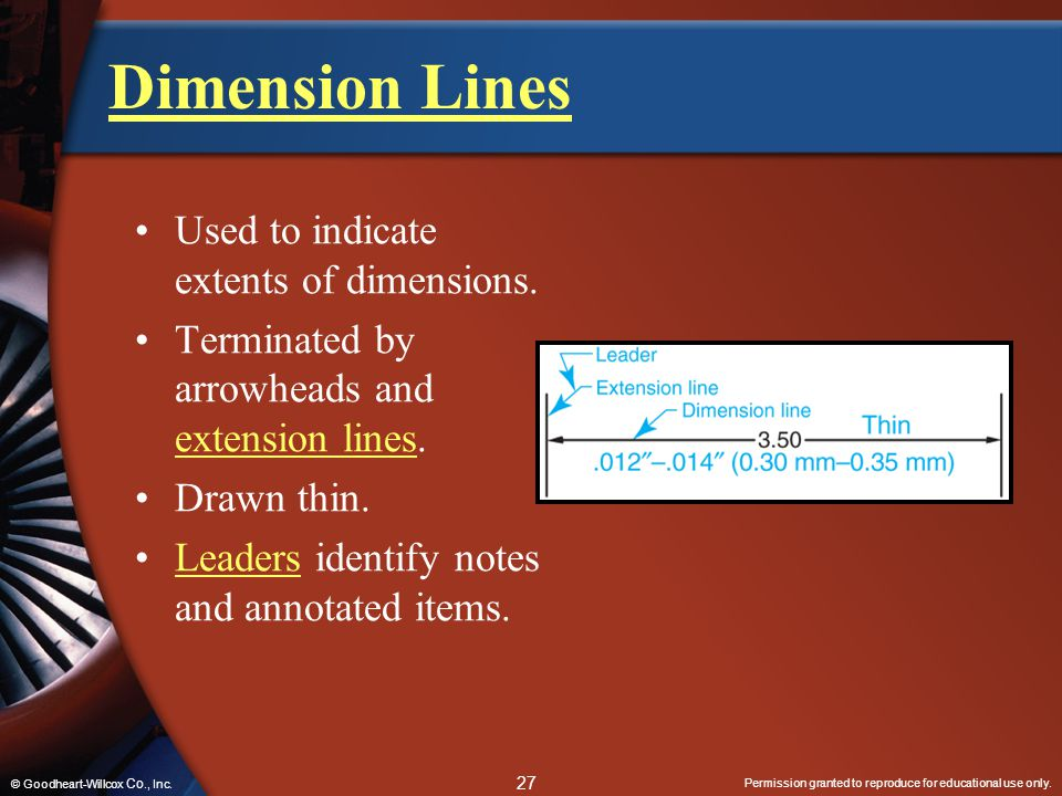 Dimension Lines Used to indicate extents of dimensions.
