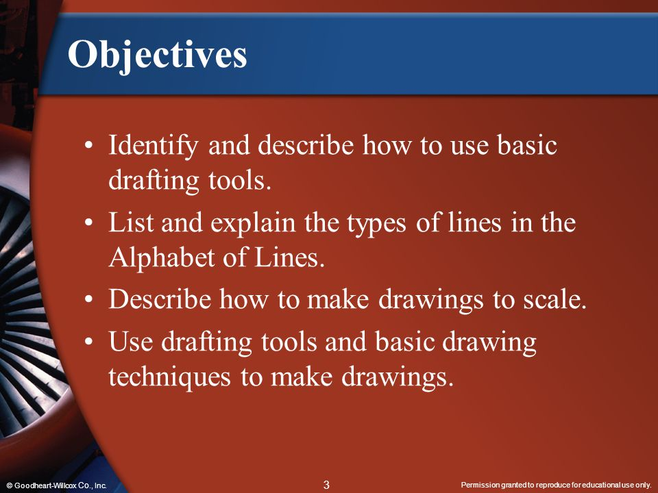 Objectives Identify and describe how to use basic drafting tools.