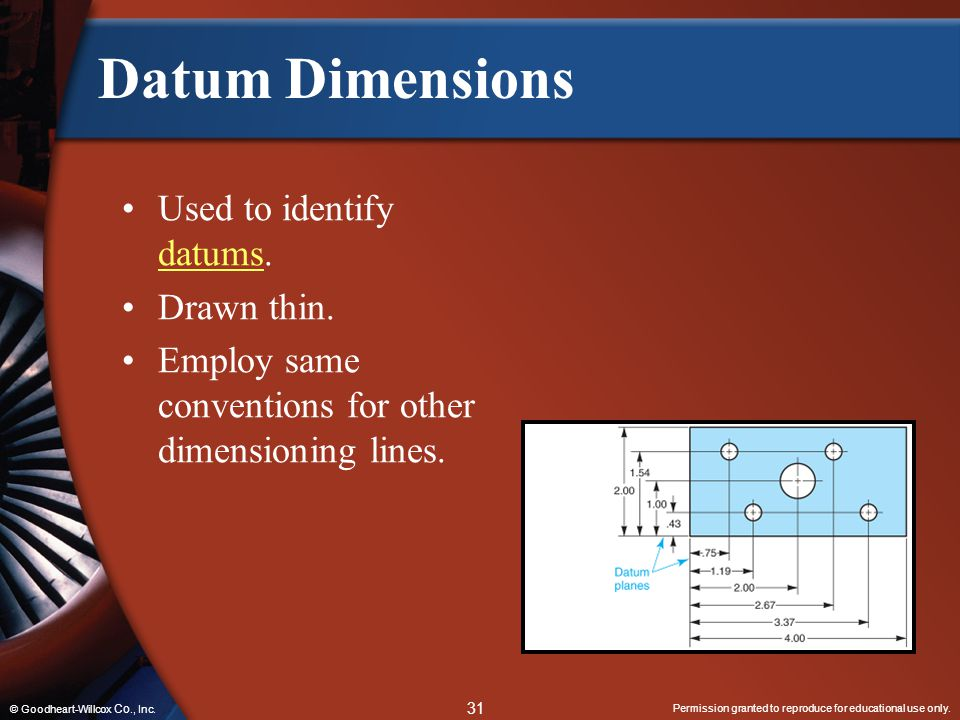 Datum Dimensions Used to identify datums. Drawn thin.