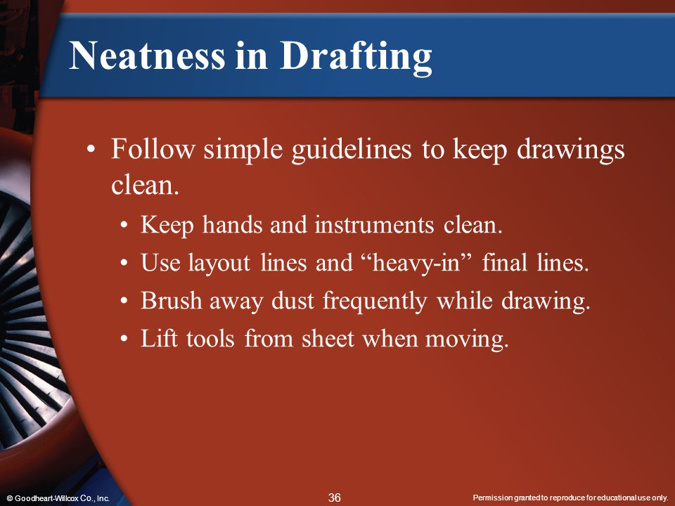 Neatness in Drafting Follow simple guidelines to keep drawings clean.