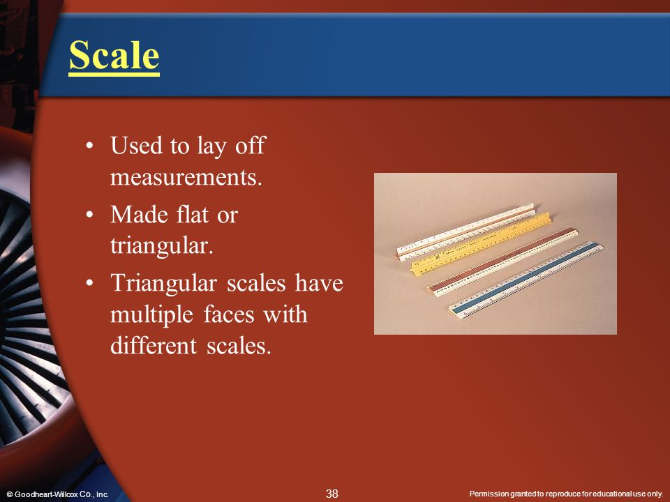 Scale Used to lay off measurements. Made flat or triangular.