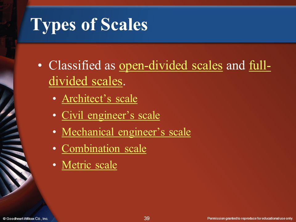 Types of Scales Classified as open-divided scales and full-divided scales. Architect's scale. Civil engineer's scale.