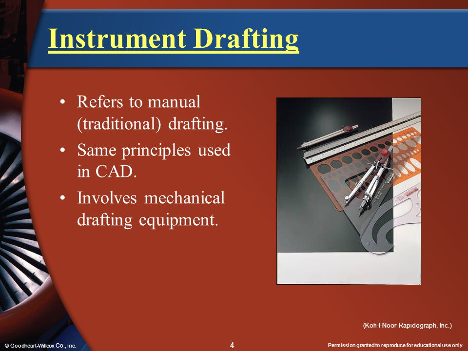 Instrument Drafting Refers to manual (traditional) drafting.