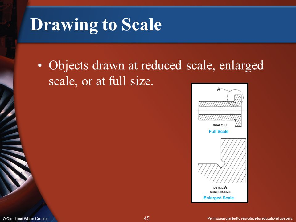 Drawing to Scale Objects drawn at reduced scale, enlarged scale, or at full size.