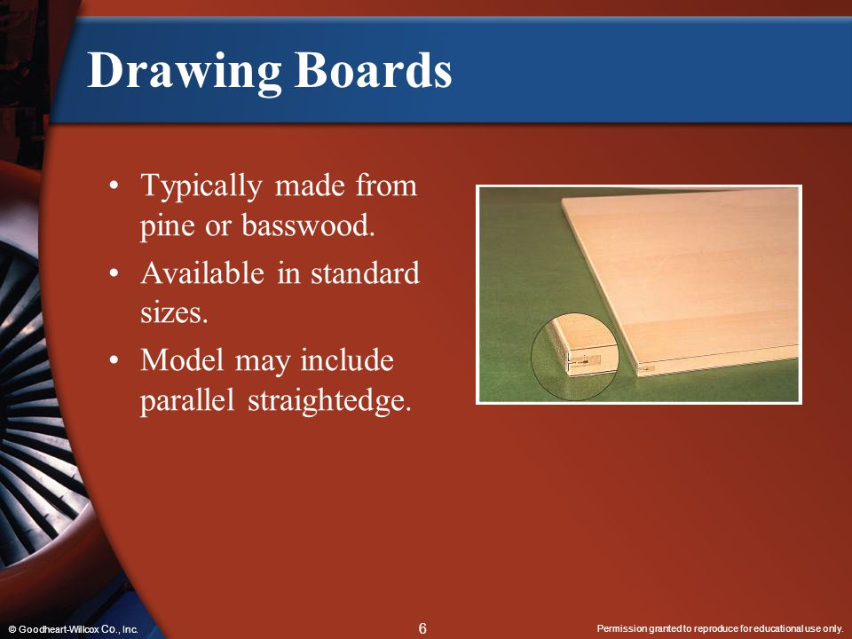 Drawing Boards Typically made from pine or basswood.