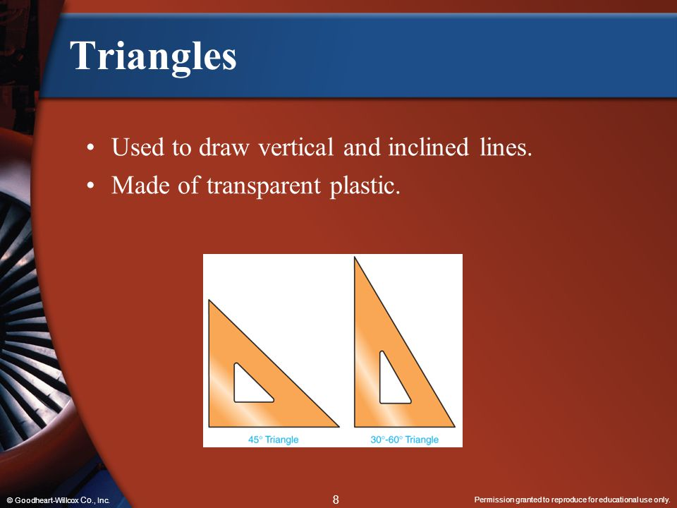 Triangles Used to draw vertical and inclined lines.