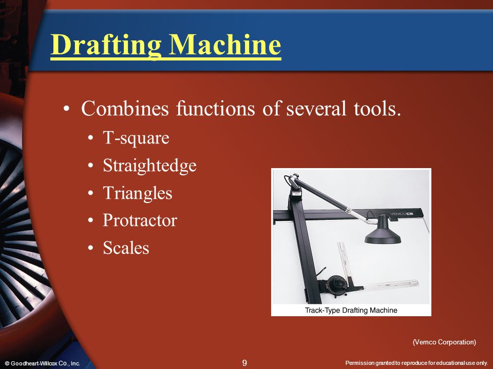 Drafting Machine Combines functions of several tools. T-square