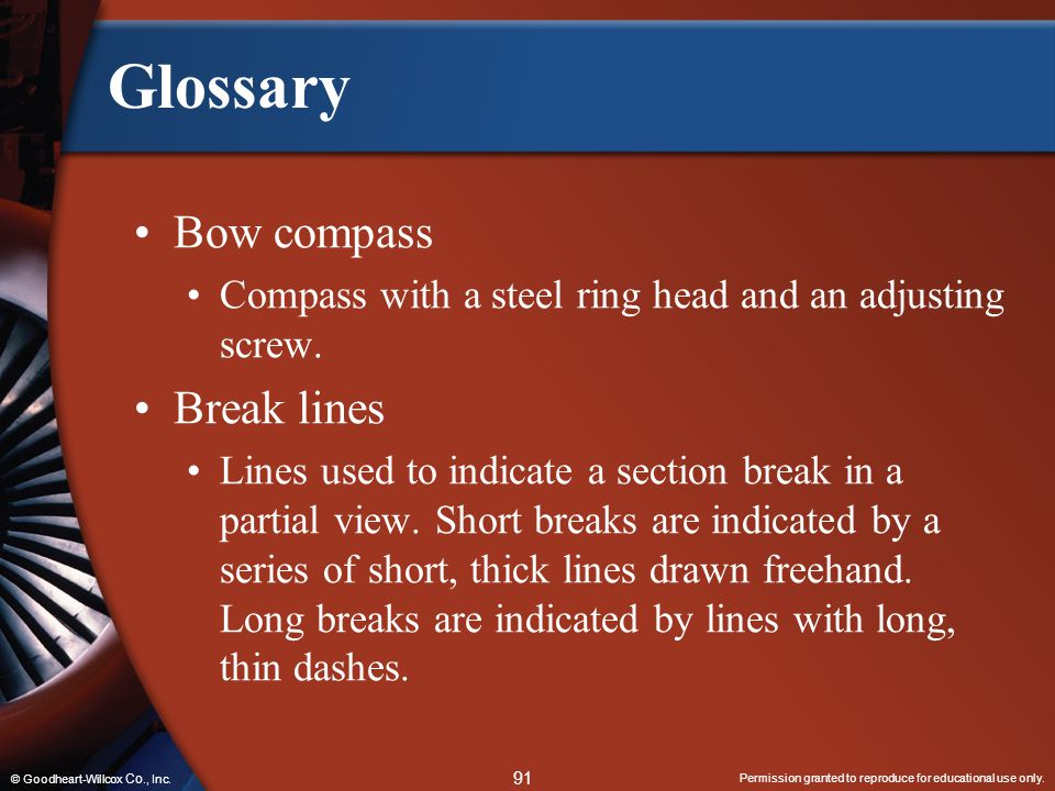 Glossary Bow compass Break lines