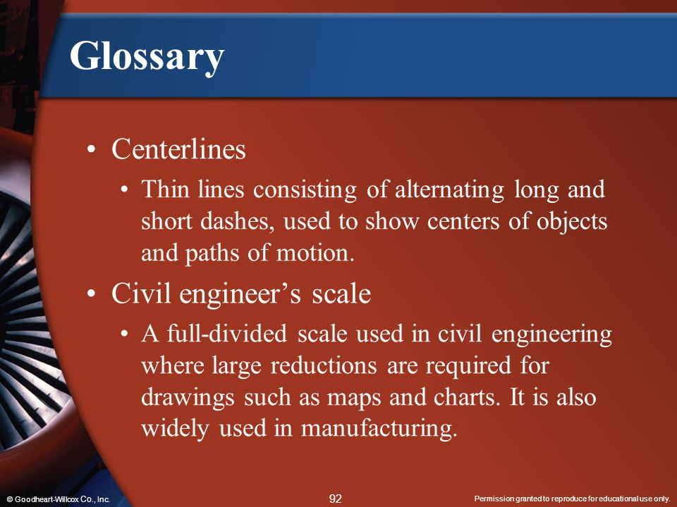Glossary Centerlines Civil engineer's scale