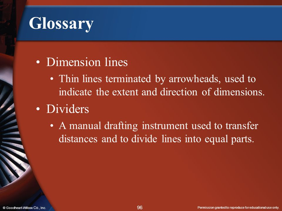 Glossary Dimension lines Dividers