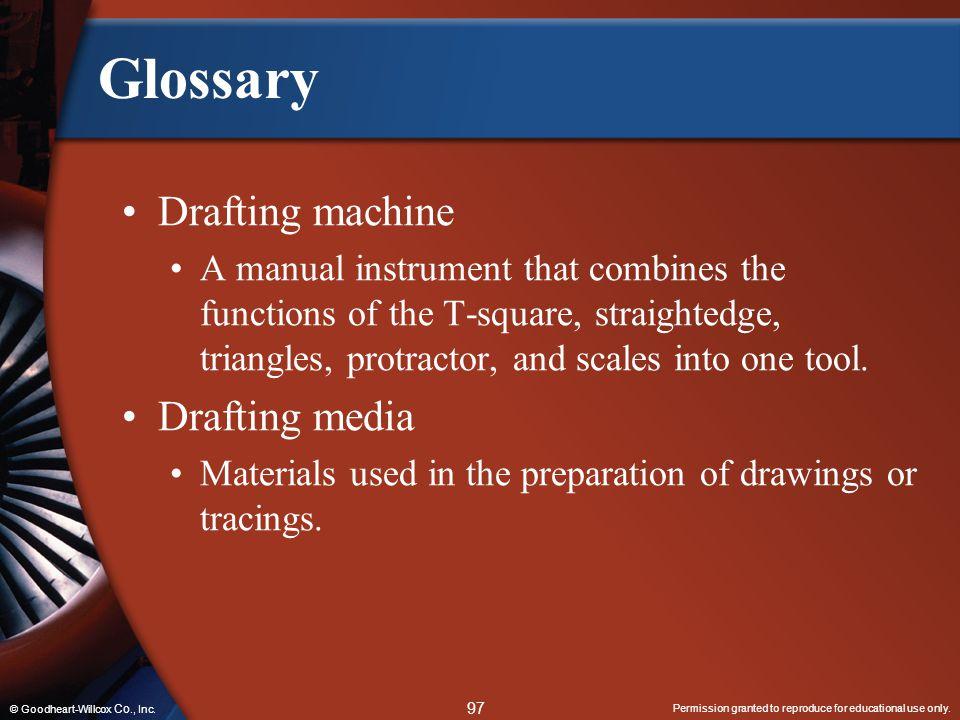 Glossary Drafting machine Drafting media